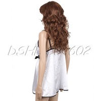 White Sexy Lingerie Nightwear Ladies Silk Bowknot Underwear Baby Doll