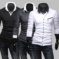 Pullover Men Sale New Man Sweater 2014 Spring Male Unique Oblique Zipper Decoration Color Block Stand Collar Casual Long-sleeve