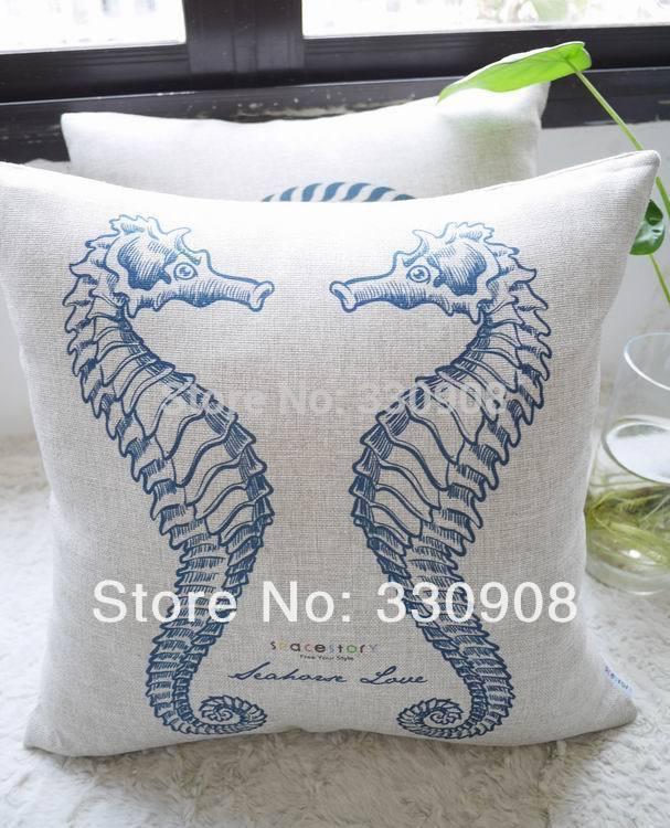 Adorno estilo Mediterrâneo. Design padrão do hipocampo de almofada para inclinar-se sobre a tampa, travesseiros decorar para um sofá(China (Mainland))