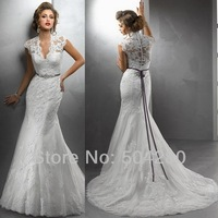 Elegant V Neck High Quality Corded Lace Designer Mermaid Wedding Gowns with a beading ribbon 2014 New buttons Wedding Dresses