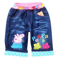 2014 promotional children's jeans cute peppa pig denim pants summer fashion pants for girls size 95-140 1piece retail