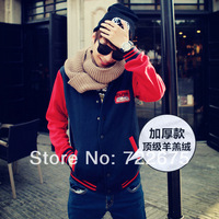 2014 chic winter plus velvet embroidered standard baseball uniform men's cardigan  Korean couple tide baseball  F65