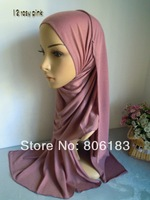 m1953 wholesale single jersey fabric long scarf  solid color cotton blent headscarf islamic hijab many colors in stock turban