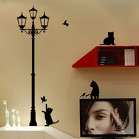 1PC Free Shipping Popular Ancient Lamp Cats and Birds Wall Sticker Wall Mural Home Decor Room for Kids FZ2052