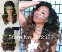fashion hot selling big sale 1bT4# two tone ombre brazilian virgin human hair loose wave front lace wig free shipping