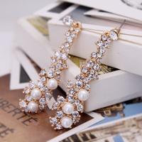Tassel vintage sparkling diamond crystal pearl stud earring long design flower bride earring