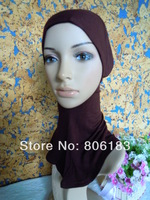m1973 hot sale cover the neck soft cotton muslim inner cap can choose color islamic mini hijab wholesale free shipping