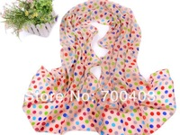 Free shipping  2014 Cute colorful dot girl's long scarf wave silk scarves