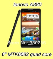 A880 phone original lenovo 6.0 inch MTK6582 Quad Core 1GB RAM 8GB ROM Android 4.2 5.0MP Camera WCDMA Dual Sim white and black