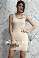 The new 2014 package hip round collar sleeveless cultivate one's morality dress 2885
