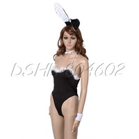 4pcs/set Sexy Lingerie Babydoll Teddy Lady Girl Rabbit Bunny Cosplay Costume