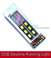 2pcs Waterproof COB drl Led bar light 12V 18W Super white daytime running DRL Lamp Auxiliary Fog lights day time running lamp