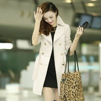 Women's trench 2014 spring women outerwear plus size spring and autumn trench outerwear female slim medium-long