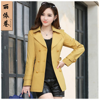 Women's trench 2014 spring women outerwear medium-long spring and autumn trench outerwear female plus size slim