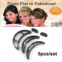 Free shipping 5 Pcs/set Bumpits Big Happie Hair Volumizing Inserts Hair Pump Beauty styling Tool Gift Item No.14031408