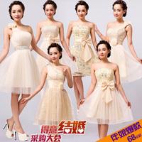 Bandage short design puff skirt dress princess dress bridesmaid dress evening dress one-piece dress bridesmaid formal dress
