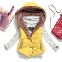 Hot 2014 Autumn Winter Plus Size Slim Plus Velvet Vest Thermal Down Cotton With Hood Vest Female Waistcoat All-match VS1001