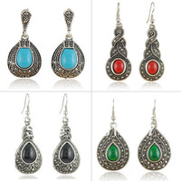 Earring Wholesale Mix Lot Vintage Earrings Made of Zinc alloy and synthetic gremstone 20Pairs/Lot Mixed Colors and Designs