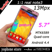 2014!Full 1:1 Note III Note 3 Android Phone MTK6589 N9000 Quad Core 5.7inch 13MP 1920*1080  Ram 2G Rom 16G  Air Gesture GPS
