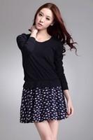 2014 spring new Korean female fish loose stitching bottoming long-sleeved dress spring models Free shipping