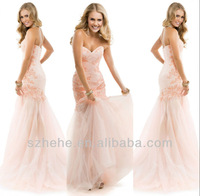 Free shipping CW2037 Gorgeous applique lace fishtail evening dress peach colored prom dresses 2014