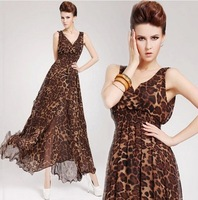 2014 New Summer Korea Women's V-Neck Sexy Leopard Dress Printing Sleeveless Long Dress free shipping