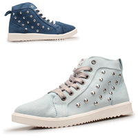 2014 autumn shoes high-top shoes famous brand rivets sneakers casual canvas street shoes Cowboy shoes