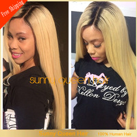Hot sale brazilian human hair middle part ##1b T #27 two tone glueless full lace wigs &ombre lace wig with baby hair