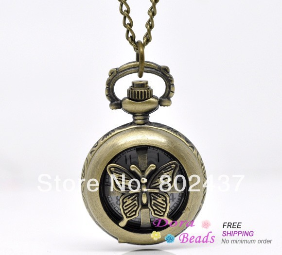 Bronze Tone Necklace Butterfly Quartz Pocket Watch 84cm (B13644)(China (Mainland))