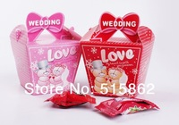 freeshipping 100pcs/lot Wedding Favor Candy Boxes Pink and red Colours Wedding Party Gift Box