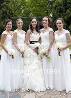 2014 Glamorous Cap Sleeves Bridesmaid Dresses Criss Cross Sweetheart Sleeveless A-Line Floor-Length Chiffon Formal Dress  AL043