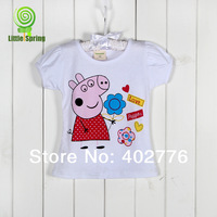 PRE-ORDER Retail children T-shirts 2-5 years kids clothing fashion short sleeves cartoon Peppa pig  tees  TLZ-S0273