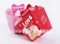 200pcs/lot  candy box  Wedding Favor Candy Boxes Pink and red Colours Wedding Party Gift Box supplier freeshipping
