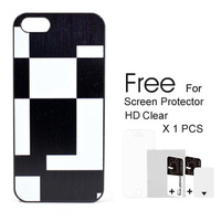 New 2014 Fashion Accessories for iphone Cases black and white check Pattern for iPhone Case For iphone 5/5S Free Shipping