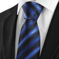 New 2014 Striped Blue Black Novelty Unique Men's Tie Necktie Wedding Party Gift  143