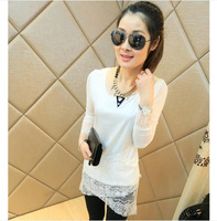 Spring 2014 Chiffon Shirt Long Type Slim Mesh Gauze Patchwork Lace Sleeve O-Neck 4 Colors M,L,XL Free Shipping 01269