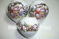 Jingdezhen ceramic bird food cans glaze 3 heart-shaped cup thruputs cylinder bird feed cylinder bird cup