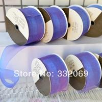 E301 trojan ribbon diy handmade hair accessory hairpin accessories ribbon plate 50 meters purple organza fabric 5cm wide