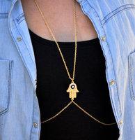 Free Shipping Body chain jewelry hamsa hand jewelry, evil eye body chain gold body chain sexy jewelry