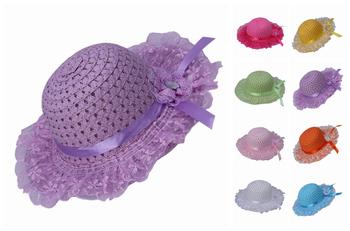 Прекрасный кружево цветы широкими полями симпатичные лента декор дети соломенная шляпка дети девочка пляж кепка 9 цвет выбрать бесплатная доставка DVI