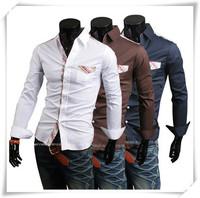 man plus size 2014 New Plaid Shirt Flower Decorative Stitching British Men's Fashion Shirt Tide Male Men Wholesale and Retail