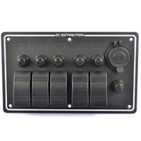 5 GANG ALUMINUM LED ROCKER &POWER SOCKET WATERPROOF MARINE/BOAT/RV SWITCH PANEL