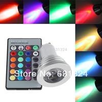 10sets/lot 3W RGB LED Bulbs GU10 85~265V RGB Spotlight bulb HK post free shipping
