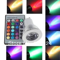 20sets/lot 3W RGB LED Bulbs GU10 85~265V RGB Spotlight bulb