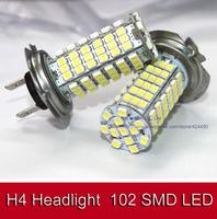 2pcs/lot New  H4 LED 3528 102 SMD Cool White Headlight Bulb Car Head Light 12V DC