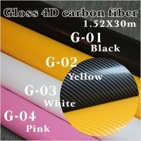 Super 3D Carbon Fiber Vinyl Film Yellow Car Sticker Wrap with Skin Texture Air Drains High Quality New Arrival