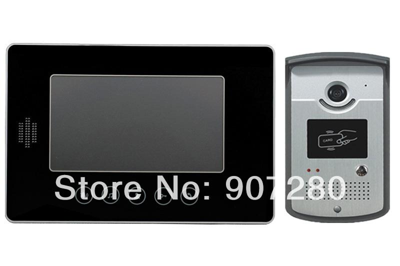 Tft lcd couleur filaire, 7'' vidéo porte d'accès au système de téléphone d'intercom glisser avec fonction de carte rfid pour la villa