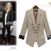 2014 spring fashion women blazer with lace sleeve OL  slim suit  elegant  jacket  beige plus size