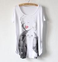 Spring 2014 marilyn monroe red lips print loose modal basic shirt comfortable o-neck short-sleeve T-shirt female