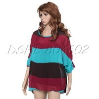 Women's Loose Batwing 3/4 Sleeve Stripe Chiffon Blouse Tops Cotton Blends Vest